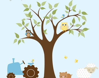 Children Wall Decal Farm  Nursery Vinyl Wall Stickers Flowers Lamb Animals Tree