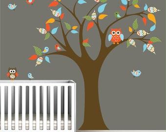 Vinyl Wall Decal Stickers Nursery Children Tree with Owl Birds-e85