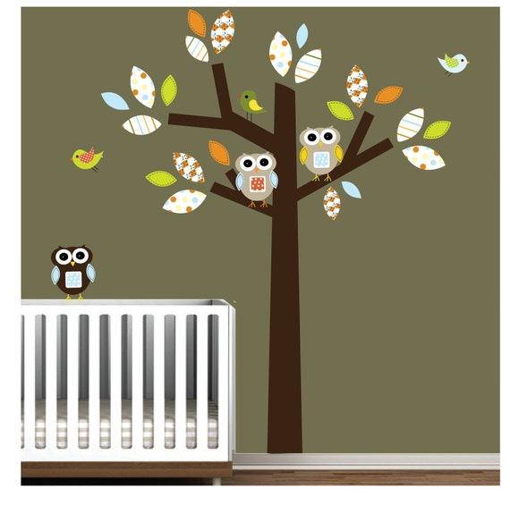 Vinyl Tree Wall Decal Wall Stickers with Owl,Birds,Pattern Leaves Nursery Art