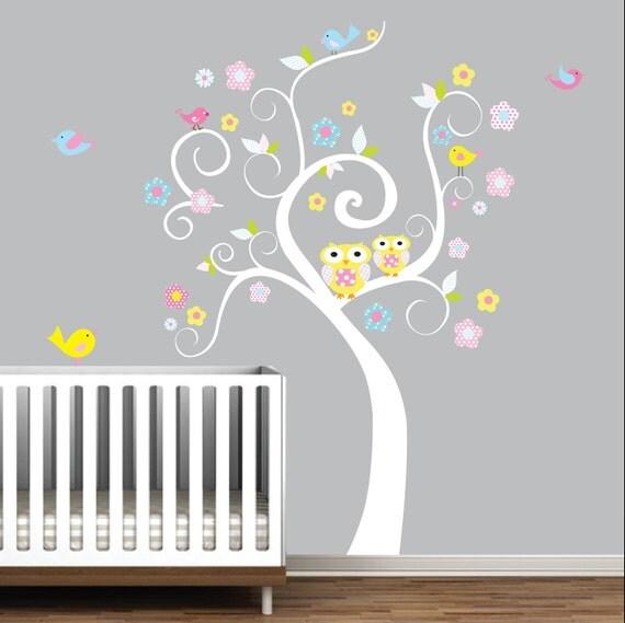 Children Wall Decals Vinyl wall decal Tree with Owls Flowers-Vinyl Tree Wall Decal