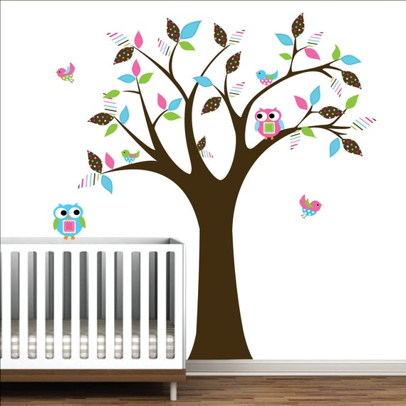 Wall Decal Children Wall Sticker Vinyl Wall Art Decals-with Owl,Birds,Pattern Leaf