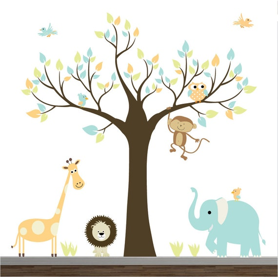 Children wall decals jungle with elephantmonkey baby boy girl for Baby boy wall mural