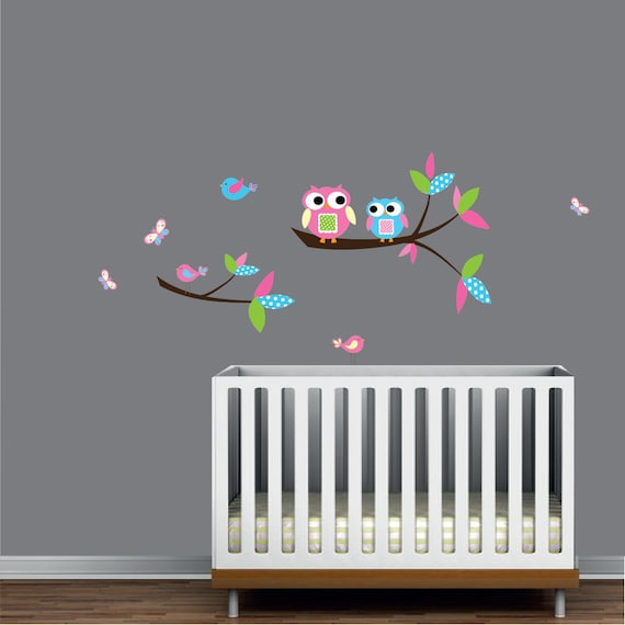 Kids Wall Decal set of Branches Owls Birds and Butterflies Vinyl Wall Decals