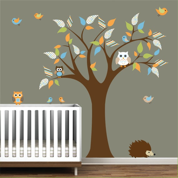 Nursery tree decal vinyl wall stickers animals owl birds tree for Pegatinas pared arbol infantil