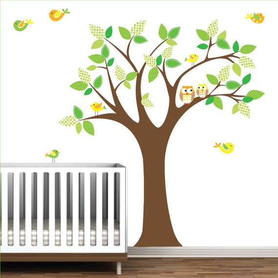 Vinyl wall decals tree with owls birds pattern leaves nursery for Bird and owl tree wall mural set