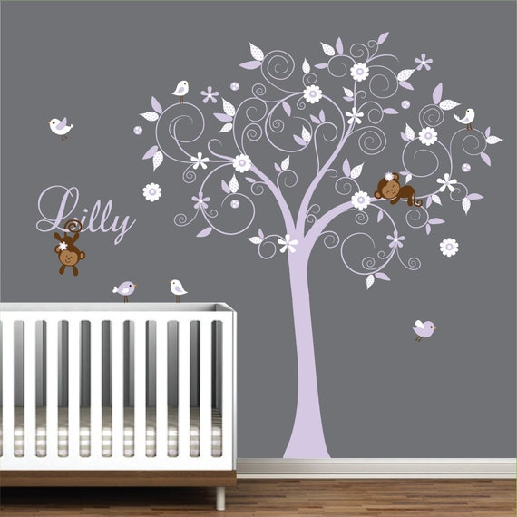 Children Wall Decals Vinyl wall decal Tree with Monkeys-Vinyl Tree Wall Decal