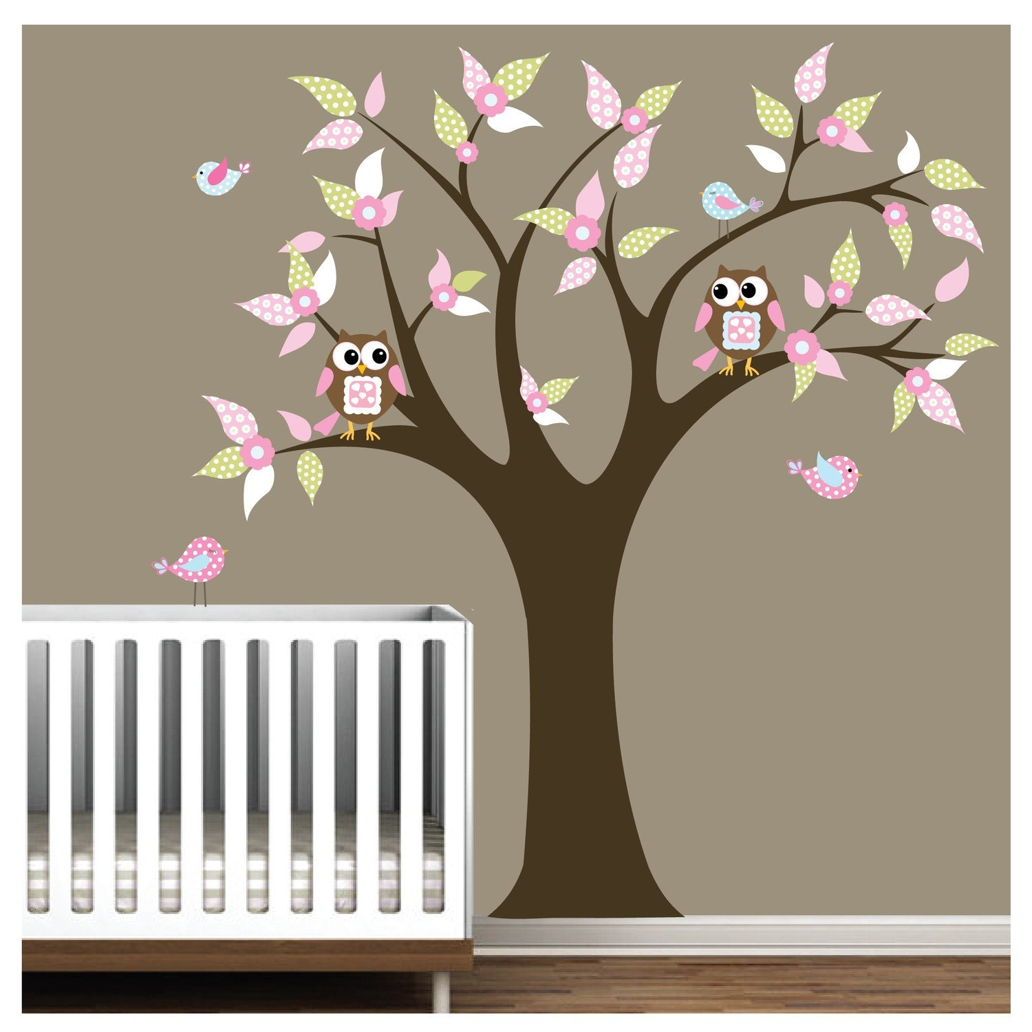 children nursery wall decal stickers owl and birds tree. Black Bedroom Furniture Sets. Home Design Ideas