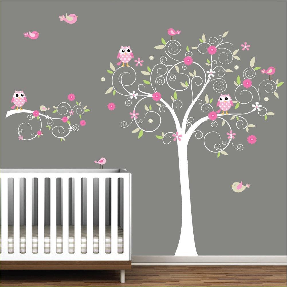 nursery wall tree decal nursery owl wall decal e15