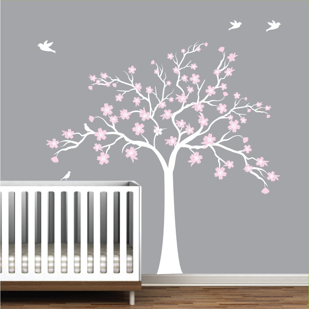 children wall decals vinyl wall decal tree with flowers vinyl. Black Bedroom Furniture Sets. Home Design Ideas