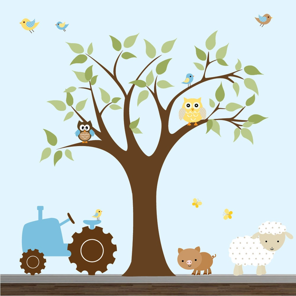 children wall decal farm nursery vinyl wall stickers flowers childrens tree with farm animals wall sticker set by