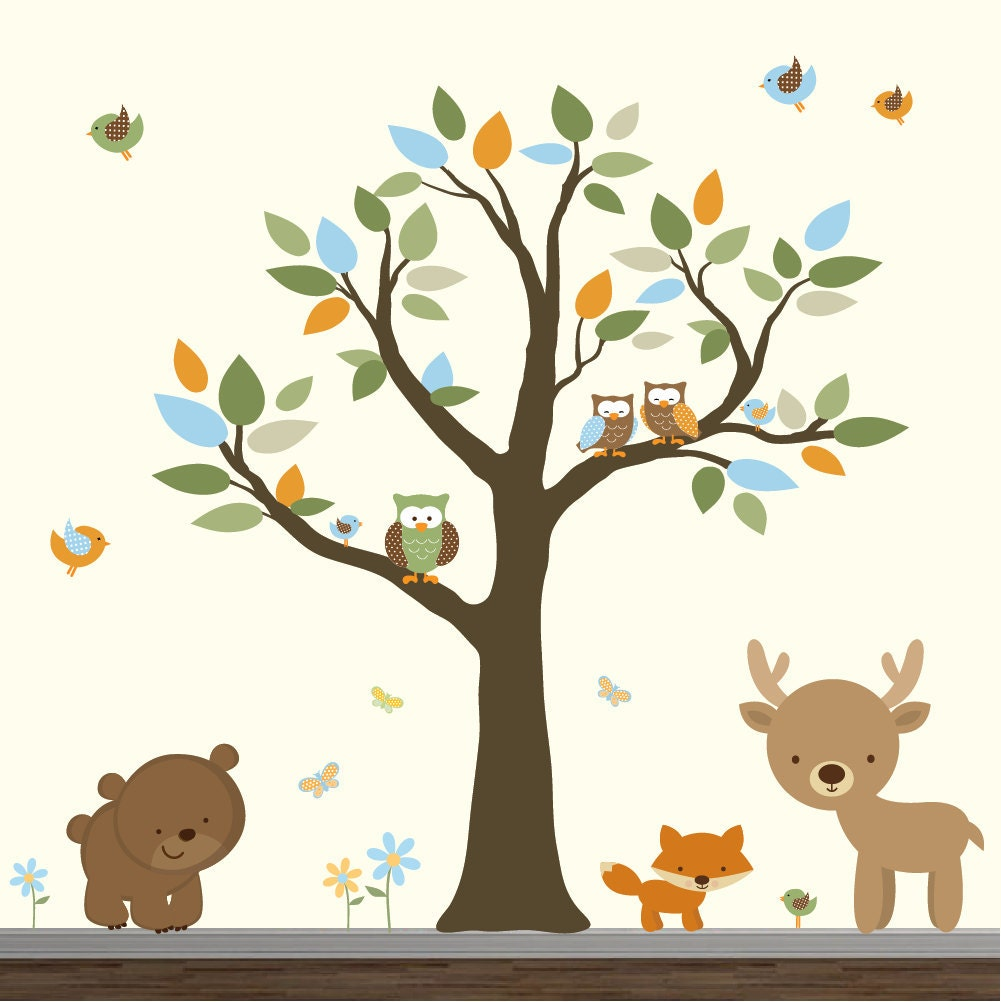 stickers vinyl wall decal forest set nursery forest wall stickers researchpaperhouse com