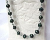 Necklace of Dark Emerald Green Fresh Water Pearls and Swarovski Green Crystals, Perfect for Holiday, Bridesmaid, Wedding