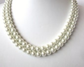 Double Strand Pearl Necklace - Elegant  Swarovski Pearls -Perfect for Bride, Bridesmaid, Mother of the Bride, Prom or Formal
