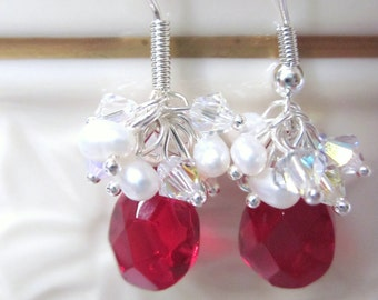 Earrings of Red Faceted Pear Shaped Crystals Accented with Swarovski Bicone Crystals and Petite Freshwater White Pearls