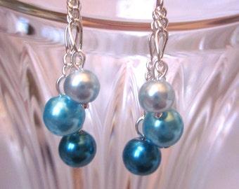 Shades of Blue Pearl Dangle Earrings