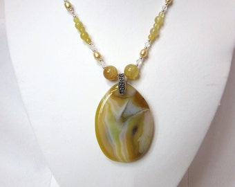 Agate Necklace Set -Yellow Agate, Honey Opals, Fresh Water Yellow Pearls and Swarovski Crystals Necklace, Unique, One of a Kind
