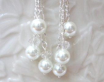 Bridal Earrings of White Pearls Accented with Crystal Rondelles