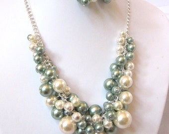 Pearl Cluster Necklace Set in Sage Green and Cream / Ecru - Chunky, Choker, Bib, Necklace, Wedding, Bridal, Bridesmaid
