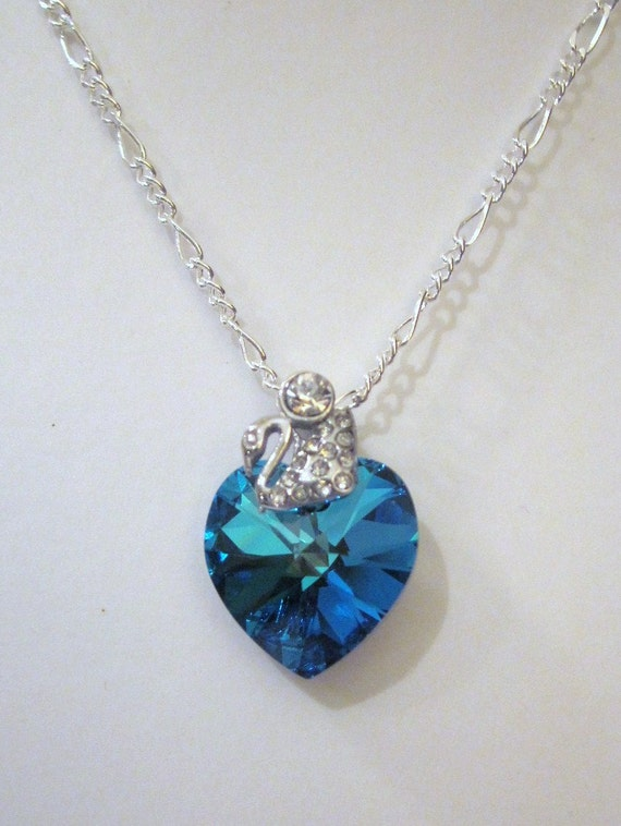 Bermuda Blue Swarovski Crystal Heart Necklace / Pendant with a Sterling Silver Chain