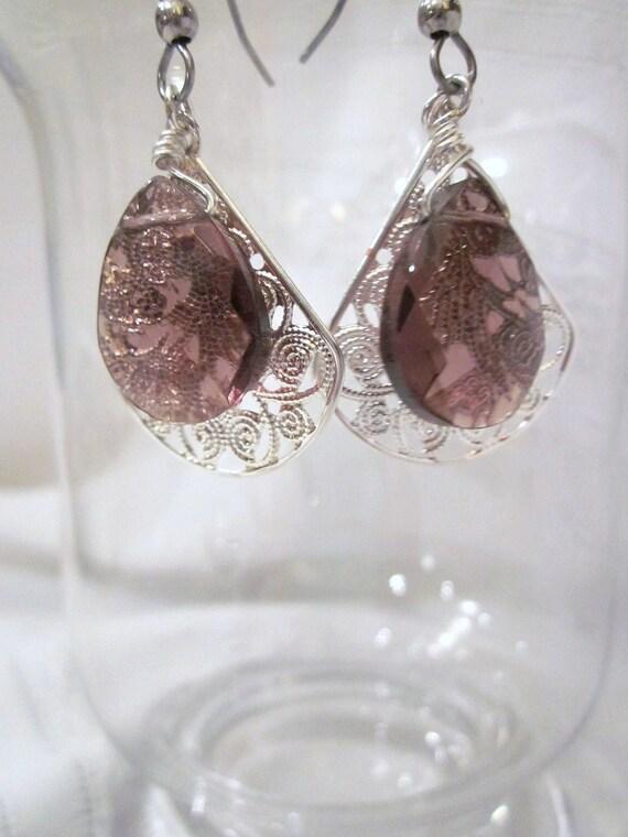 Elegant Earrings of Amethyst Violet Tear drop Crystals and Silver Fan Filigree Accents for Wedding, Bride, Bridesmaid, Formal