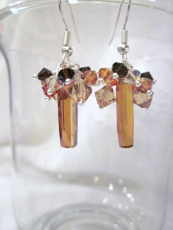 Elegant Earrings of Topaz AB Swarovski Crystal Clusters - Wedding, Bride, Bridesmaid, Formal