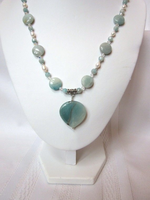Necklace of  Blue Amazonite, White Freshwater Pearls and Crystal Swarovski Bicones - Elegant, Prom, Formal, Wedding, Bridesmaid