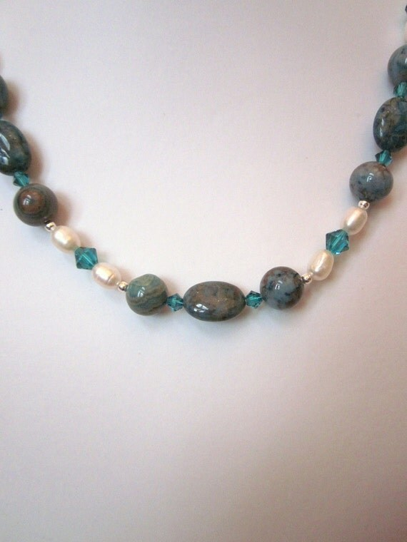 Necklace of  Blue (Dyed) Crazy Lace  Agate, White Freshwater Pearls, and Swarovski Crystal Accents