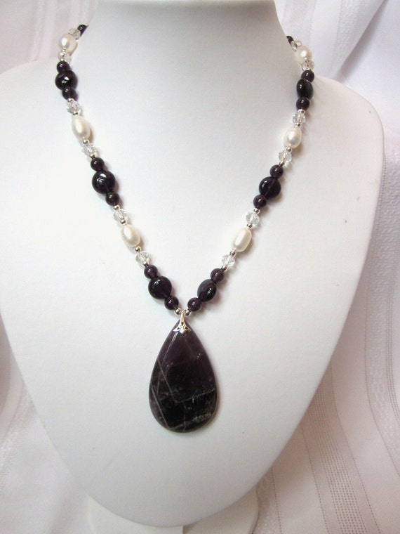 Necklace of Amethyst and Freshwater White Pearls Featuring a Large Pear Shaped Amethyst Pendant, Dark Purple, Violet