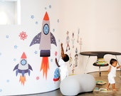 Starry Sky Space Rockets Reusable Fabric Wall Decals by Pop & Lolli