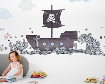 Pirate Boat Reusable Fabric Wall Decals by Pop & Lolli