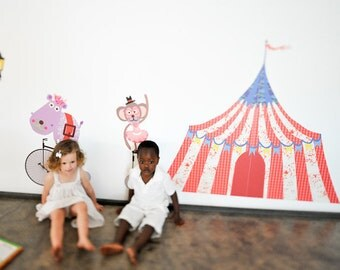 Big Top Circus Tent  reusable fabric wall decals by Pop & Lolli
