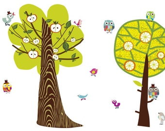 Trees-a-Pair Enchanted Forest Trees Reusable Fabric Wall Decals by Pop & Lolli
