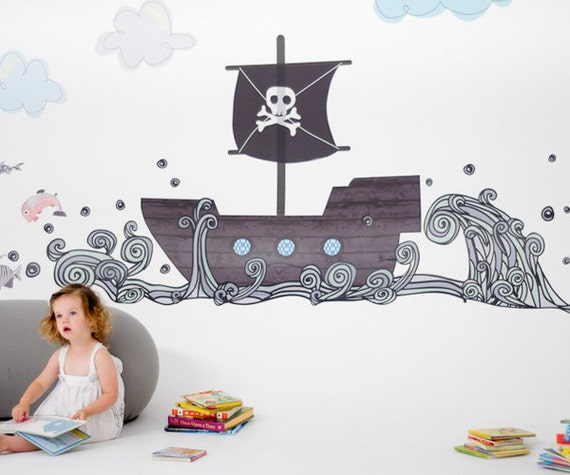 pirate boat reusable fabric wall decals by pop lolli. Black Bedroom Furniture Sets. Home Design Ideas