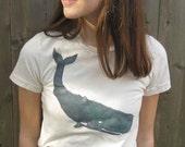 CLEARANCE SALE: Teen Women Sperm Whale T Shirt, Unbleached Organic Cotton T-Shirt, Sea Life Art, Beach TShirt, Nautical, Whale Shirt, XS