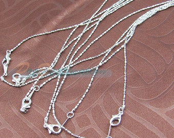 """6 pcs Silver Plated Thin Chain For Pendant, 16inch Silver Color Necklace, Pendant Finding """"dot & line"""" Shape"""