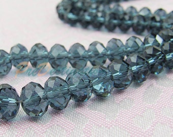 One Strand(about 72pk) Gorgeous Mazarine Blue Czech Glass Rondelle Beads 8X6 Faceted Oblate