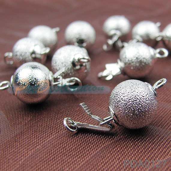 6 set 18KGP Frosted Ball Clasp, 10mm Siver Plated Mat Round Clasp With Jump Rings, For Necklace, Bracelet, etc...