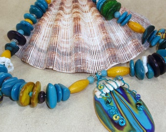 Bold Colorful Mixed Media Art Necklace