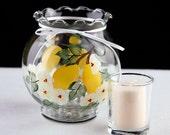 Hand Painted Lemon Ivy Bowl Candle Holder