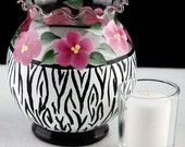 Hand Painted Ivy Bowl Candle Holder, Zebra Stripe