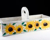 Hand Painted Wooden Sunflower Box