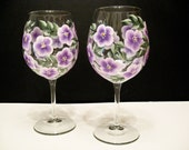 Lavender Hand Painted Wine Glasses