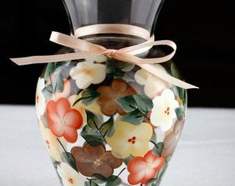 Hand Painted Flowered Vase