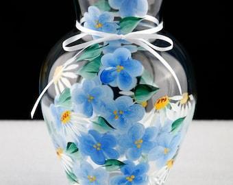 Hand Painted Blue Flowered Vase