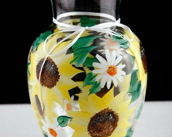 Hand Painted Sunflower and Daisy Flowered Vase