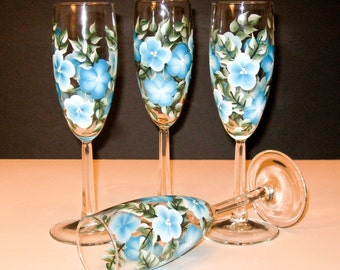 Hand Painted Turquoise Flowered Champagne Glasses