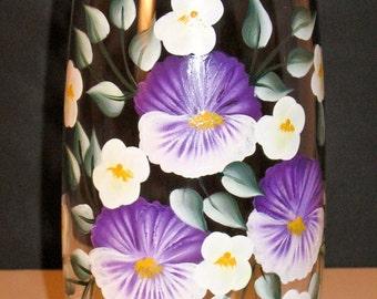 Purple Pansy Hand Painted Vase