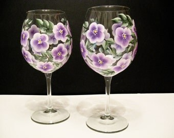 Hand Painted Wine Glasses, Lavender Flowers
