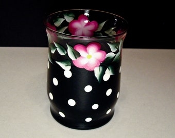 Hand Painted Candle Holder, Black Polka Dot