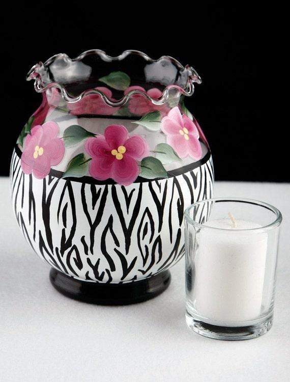 Zebra Stripe Ivy Bowl Candle Holder